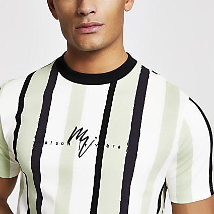 Maison Riviera green stripe slim fit T-shirt