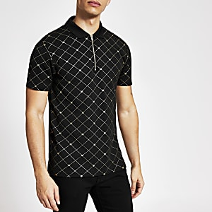 Black RVR printed half zip polo shirt