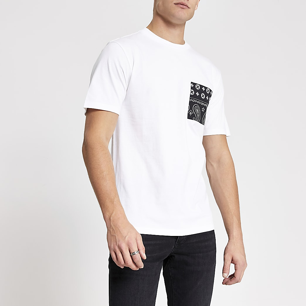 White bandana print pocket slim fit T-shirt