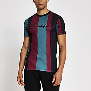 Prolific – Gestreiftes Muscle Fit T-Shirt in Bordeaux