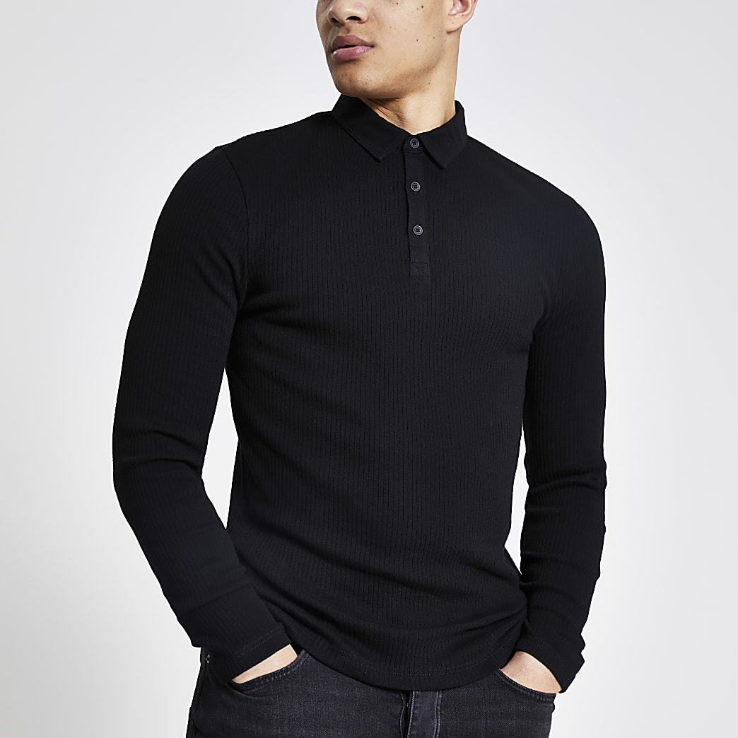 Black long sleeve muscle fit rib polo shirt