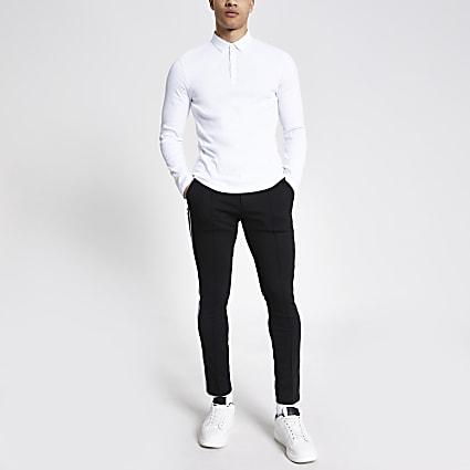 White long sleeve muscle fit rib polo shirt