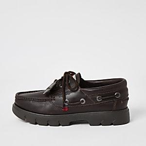 Kickers – Chaussures bateau en cuir marronà semelle épaisse