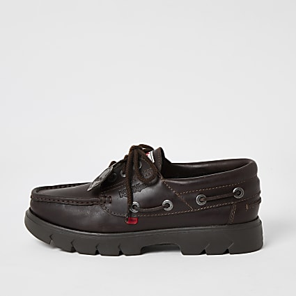 Kickers brown leather chunky boat shoes