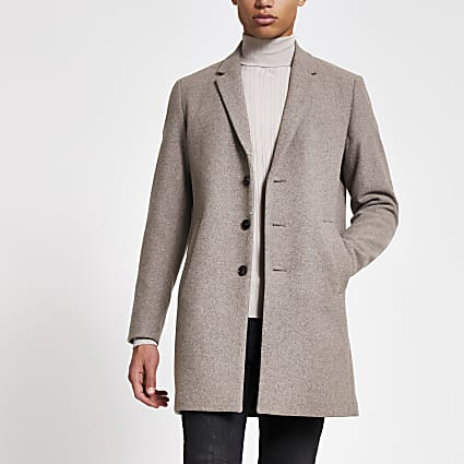 Jack and Jones stone single breasted coat