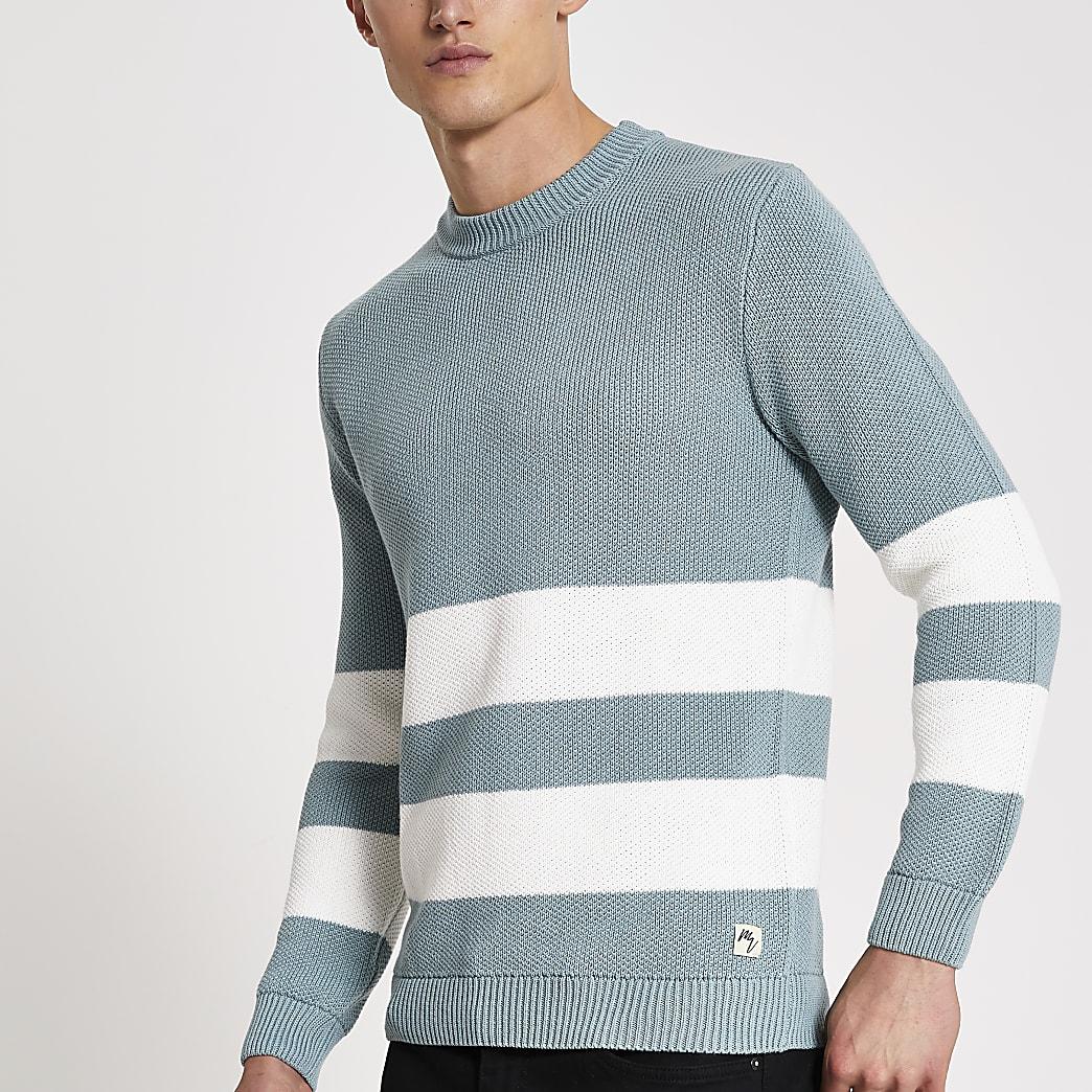 Maison Riviera green blocked knitted jumper