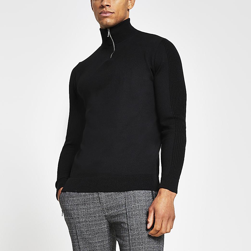 Zwarte gebreide slim-fit trui met halve ritssluiting