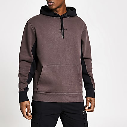 DVSN purple colour blocked hoodie