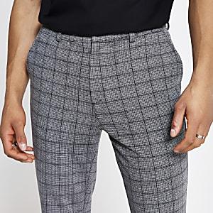 Pantalon skinny à carreaux gris foncé
