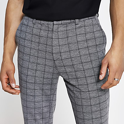 Dark grey check skinny trousers