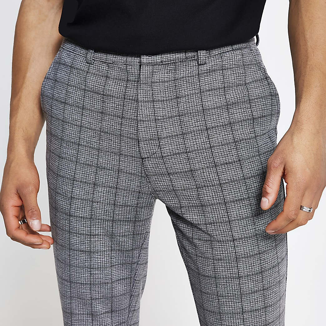 Dark grey check skinny trousers