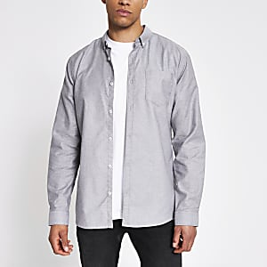Graues, langärmeliges Regular Fit Oxford-Hemd
