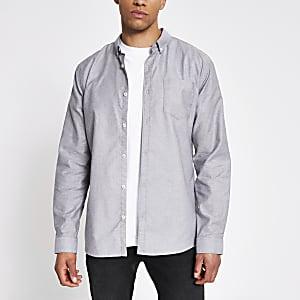 Grijs Oxford overhemd met lange mouwen en normale pasvorm