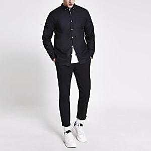 Zwart regular-fit overhemd met lange mouwen