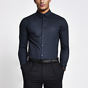 Marineblauw muscle-fit T-shirt met lange mouwen