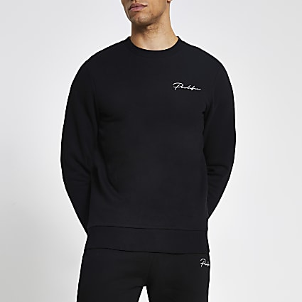 Prolific black muscle fit sweatshirt