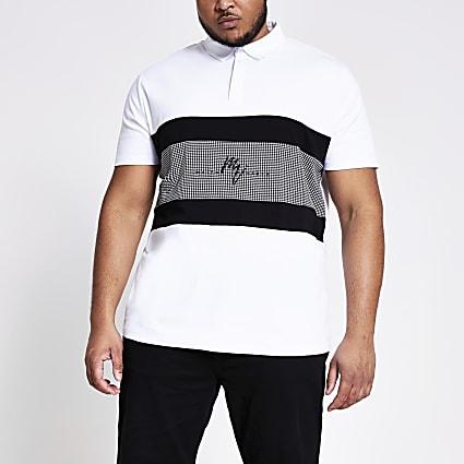 Big and Tall Maison Riviera white polo shirt