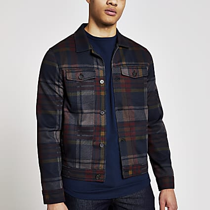 Red check skinny fit western jacket
