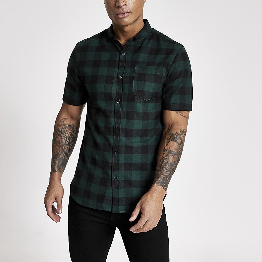 Dark green check regular fit shirt