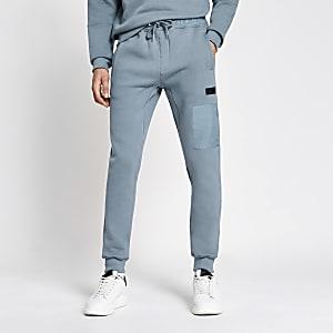 Pastel Tech – Pantalon de jogging en nylon colour block bleu