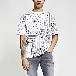 Maison Riviera – Weißes Box Fit T-Shirt mit Bandana-Print