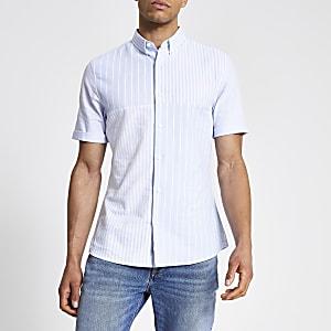 Blauw gestreept slim-fit overhemd met kleurvlakken