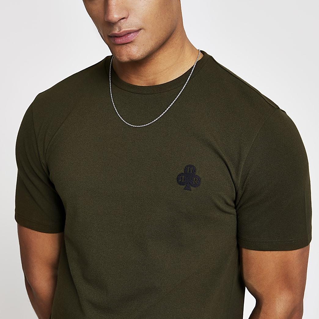Khaki pique slim fit T-shirt