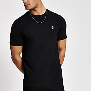 T-shirt noir RI enpiqué