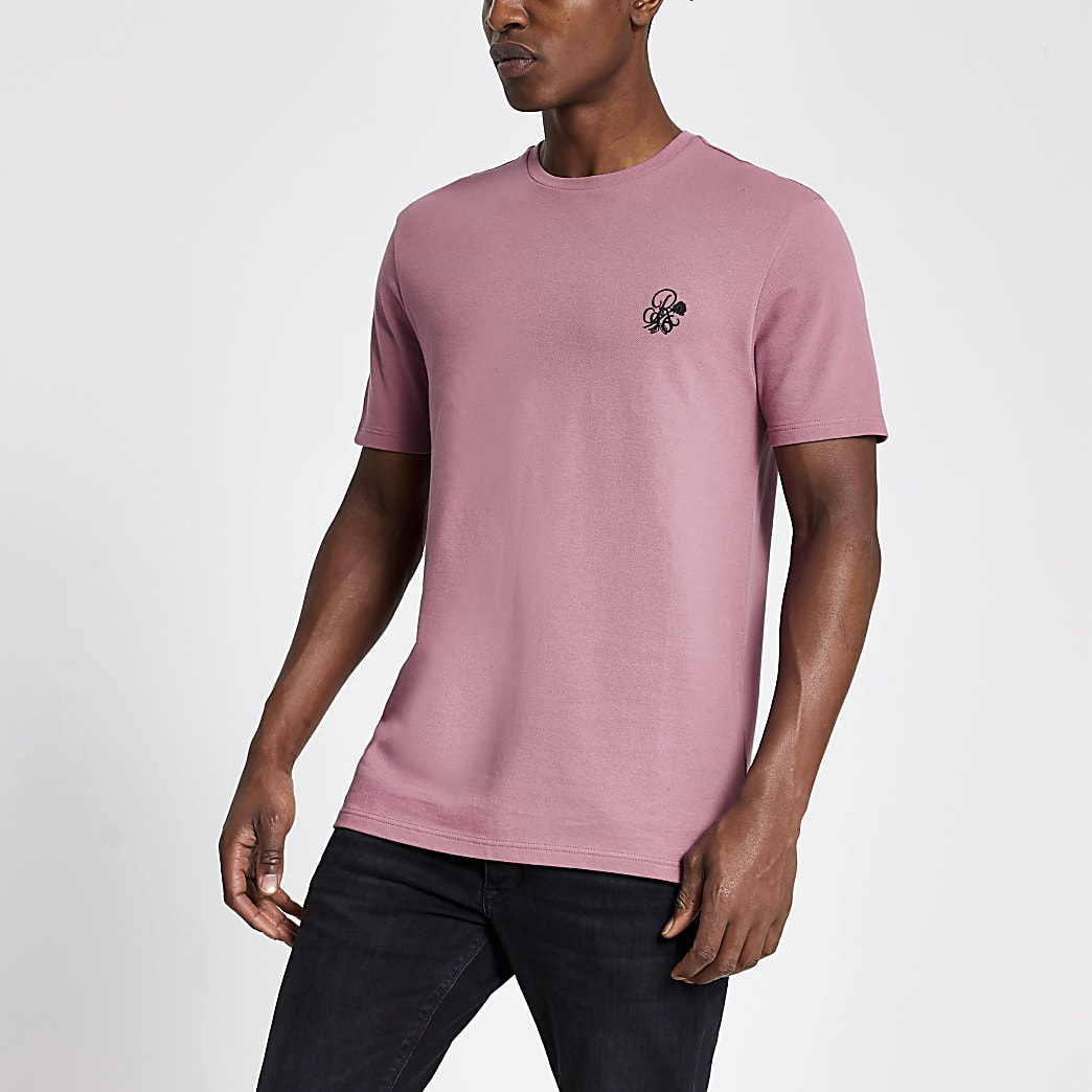 R96 pink pique slim fit T-shirt
