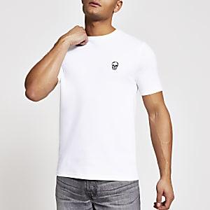 Weißes Slim fit Pikee-T-Shirt mit Totenkopf-Motiv