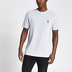 T-shirt slim gris enpiqué de coton