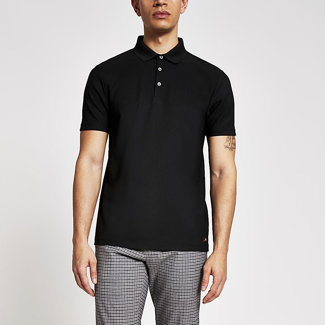 Maison Riviera black slim fit polo shirt