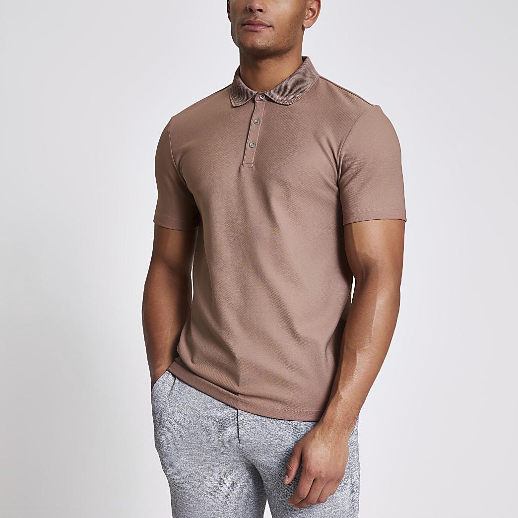 Maison Riviera pink slim fit polo shirt