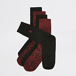 Bordeauxrode sokken met RI-monogram set van 5