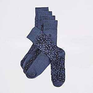 Lot de5 paires des chaussettes bleues impriméRI