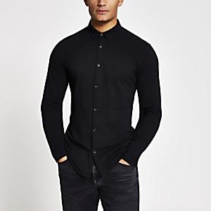 Maison Riviera - Zwart muscle-fit jersey overhemd