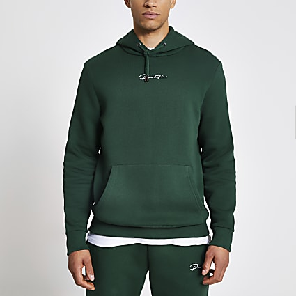 Dark green Prolific slim fit hoodie