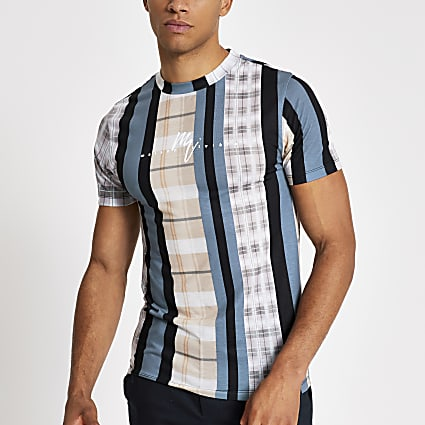 Maison Riviera check stripe muscle T-shirt