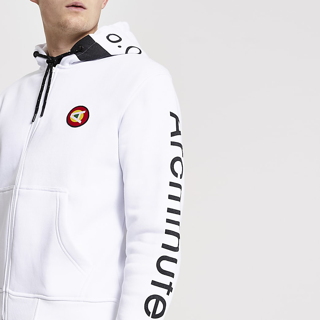 Arcminute white printed zip through hoodie