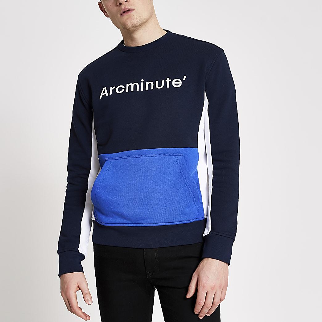 Arcminute - Blauwe sweater met kleruvlakken