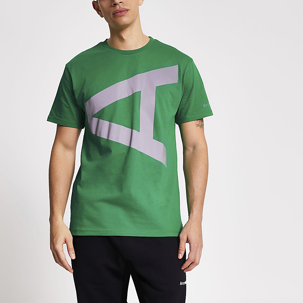 Arcminute green reflective A print T-shirt