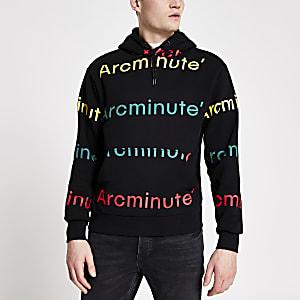 Arcminute – Sweat à capuche noir avec logo imprimé