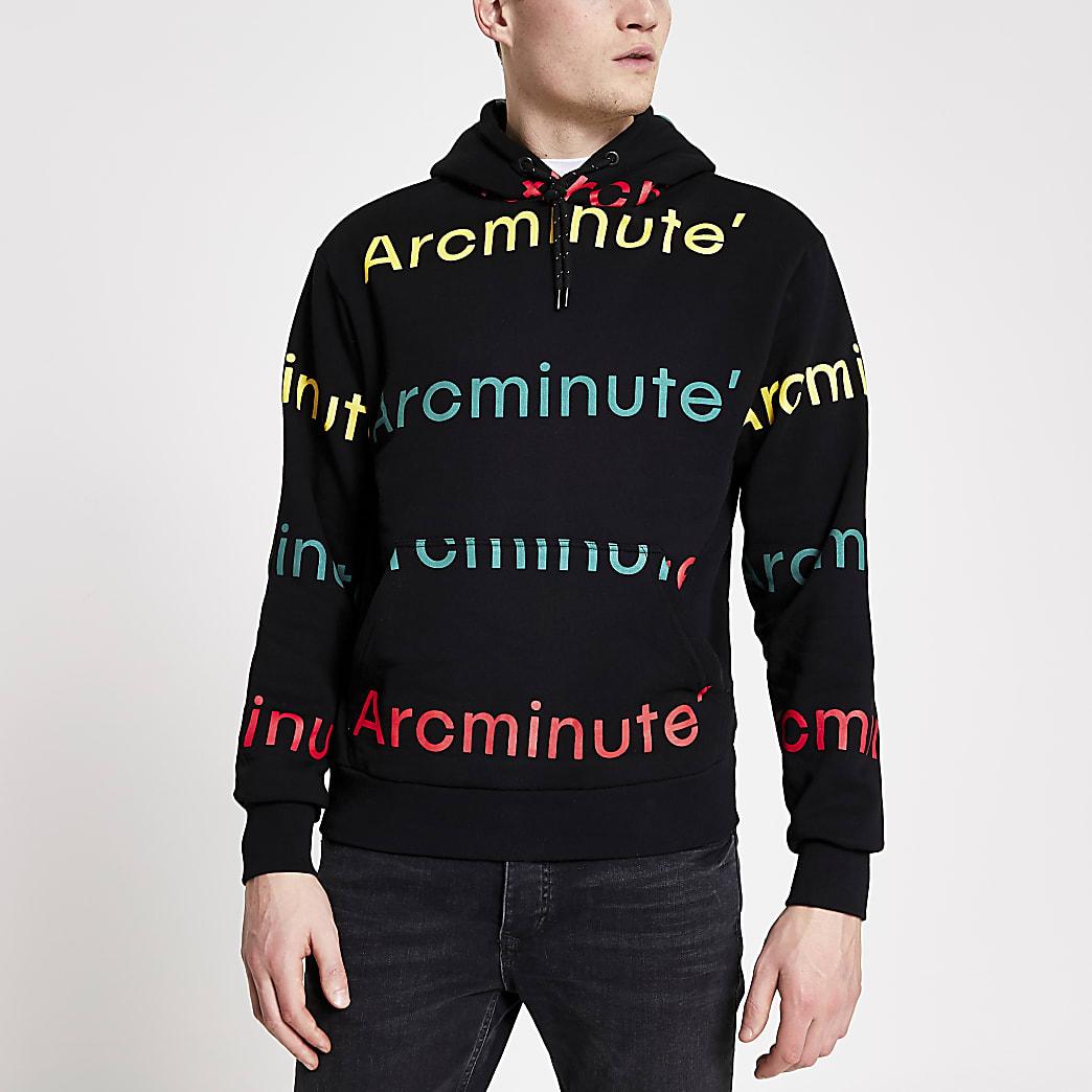 Arcminute black logo printed hoodie