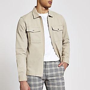 Steingraue, langärmelige Hemdjacke mit durchgehendem Reißverschluss