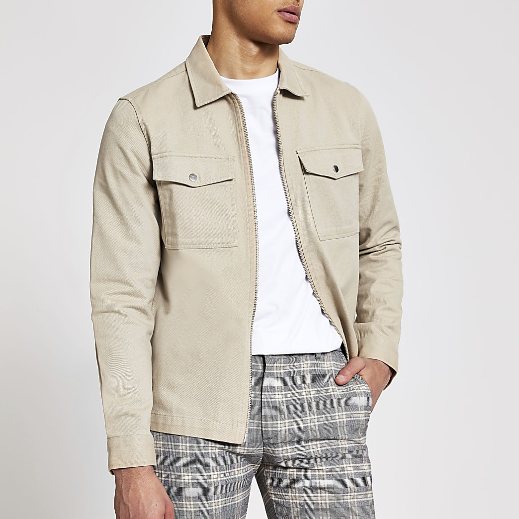 Stone zip through long sleeve overshirt