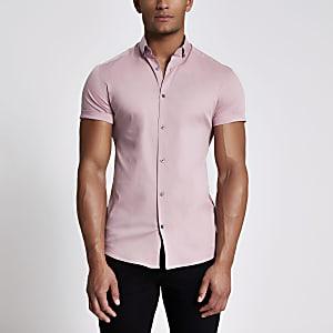 Lichtroze muscle fit overhemd met korte mouwen