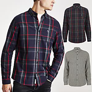 Set van 2 meerkleurige geruite slim-fit overhemden