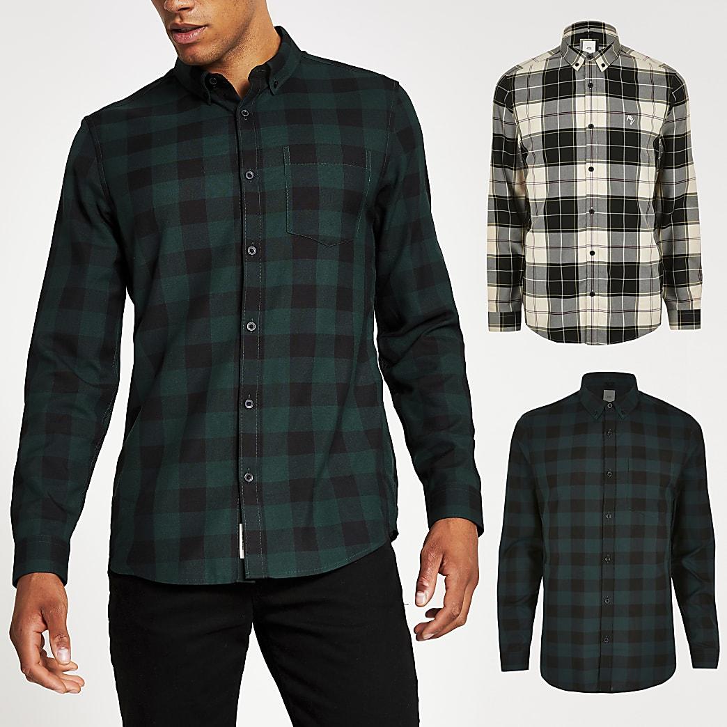 Set van 2 groene en ecru geruite slim-fit overhemden