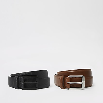 Black and brown buckle belt 2 pack