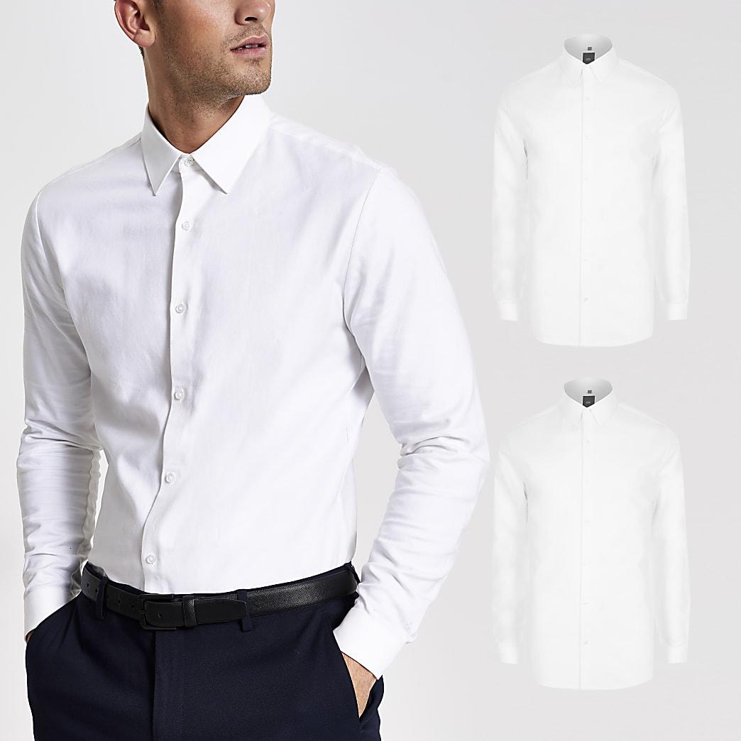 Set van 2 witte overhemden met lange mouwen en textuur